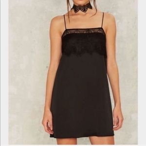 Cotton Candy Nasty Gal black lace slip dress S